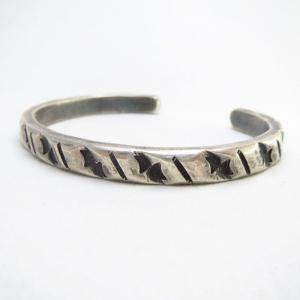 Vintage Filed & Stamped Silver Narrow Cuff Bracelet  c.1950