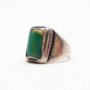 Antique Navajo Worn Siver Men's Ring w/Square TQ  c.1910~