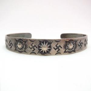 Antique 卍 Whirling Log Stamped Silver Cuff Bracelet  c.1930