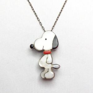 Vintage Zuni Channel Inlay Snoopy Necklace & Pin  c.1960~