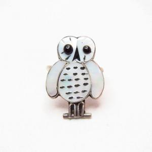 OLDPAWN Zuni Channel Inlay Owl Silver Ring  c.1990~