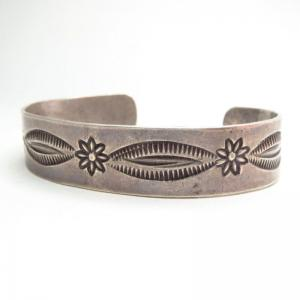 Antique Flower Stamped Ingot Silver Cuff Bracelet  c.1920~