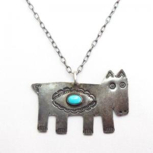 【UITA10】 Antique Cow? Shape Fob Silver Necklace w/TQ c.1930~