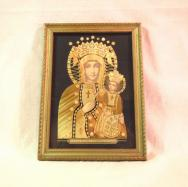 Antique Bamboo Collage Icon of a Mother of God