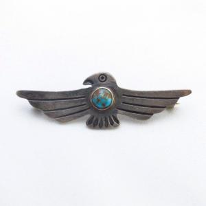 Antique Thunderbird Shape Stamped Silver Pin w/Gem TQ c.1930