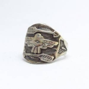 Antique Thunderbird & Arrows Applique Silver Ring  c.1930