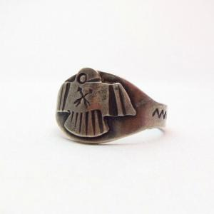 Antique Thunderbird Patched Mens Silver Tourist Ring c.1930~