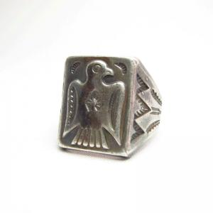 Vintage Thunderbird Patched Silver Seal Ring  c.1940~
