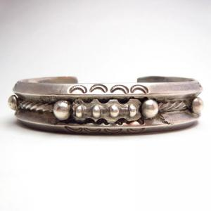 Vintage Heavy Double Trianglewire Cuff Bracelet  c.1940