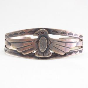 Antique Thunderbird 『M』 Engraved Silver Cuff Bracelet c.1940