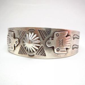 Antique Thunderbird Patched & Stamped Cuff Bracelet  c.1940