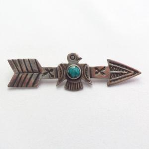 Antique Stamped Arrow & Thunderbird Silver Pin w/TQ  c.1930~