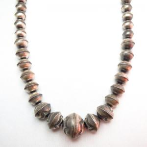 OLDPAWN Stamped Silver Bead Necklace