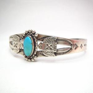 Antique Two Thunderbird Patched Cuff Bracelet w/TQ  c.1930~