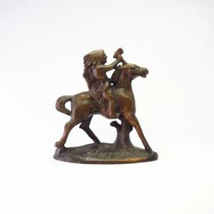 Vtg Bronze Indian Riding Horse Small Statue Object  c.1948
