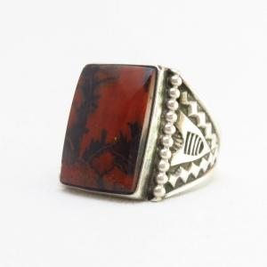 Vintage Navajo Silver Men's Ring w/Sq. PetrifiedWood c.1940~