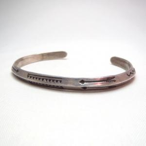 Antique Stamped Narrow Trianglewire Cuff Bracelet  c.1930