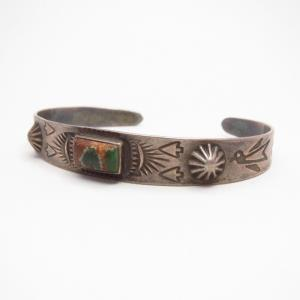 Antique Thunderbird Stamped Cuff Bracelet w/Sq. TQ  c.1935~