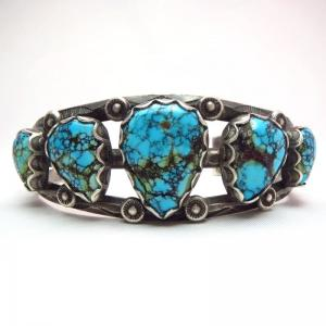Vintage Navajo High Grade Number 8 Turquoise Row Cuff c.1950