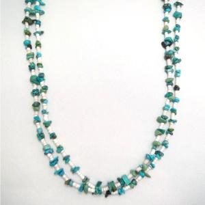 Vintage 2 Strands Nugget Turquois Heishi Necklace  c.1970