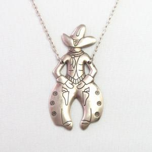 Vintage 【BELL TRADING】 Cowboy Shaped Fob Necklace  c.1950~