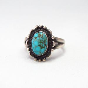 Antique Silver Tourist Ring w/Brown Web Turquoise  c.1940~
