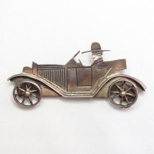 OLDPAWN Indian Man Driving HOT ROD Car Shaped Pin  c.1980~