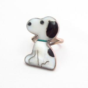 Vintage Zuni 【Snoopy】 Channel Inlay Silver Ring  c.1970