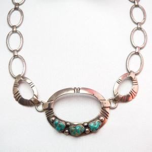 Vintage Handmade Chain Necklace w/3TQ  c.1960~