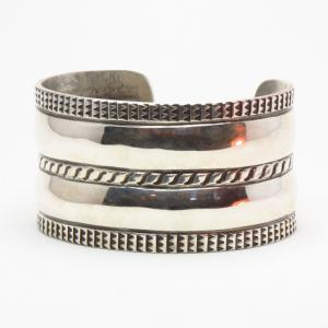 Jonathan Day 【Double D】 Coin Silver Wide Cuff Bracelet S