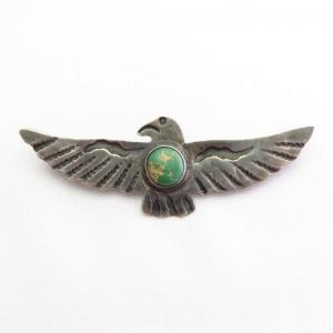 Antique Thunderbird Shaped Silver Pin w/Green TQ  c.1930~