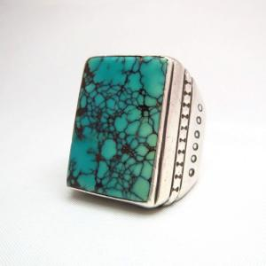 Mark Chee Navajo Vintage Square Turquoise Huge Ring  c.1950~