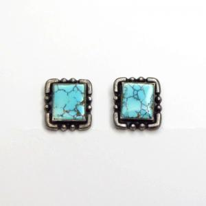 Vintage Silver Screw-back Earring w/Gem Square #8 TQ c.1940~