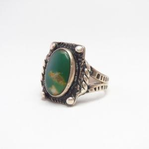 Antique Stamped Silver Small Tourist Ring w/Green TQ c.1935~