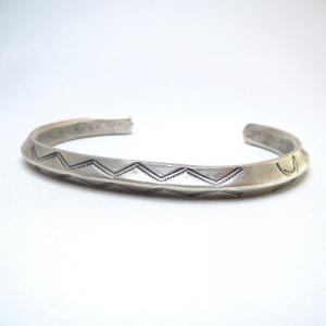 Antique Navajo Stamped Ingot Silver TriangleWire Cuff c.1920