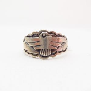Antique Thunderbird Patched Silver Tourist Ring c.1930~