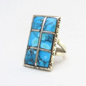 Vintage Gem Grade Kingman Turquoise Inlay Silver Ring c.1960