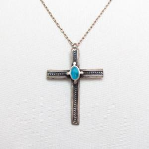 Vintage Zuni Silver Cross w/TQ Fob Necklace  c.1960~