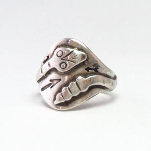 Atq Snake Applique & 卍 Stamped Silver CigarBand Ring c.1925~