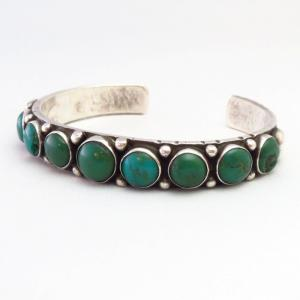 Antique Navajo Green Turquoise Row Ingot Silver Cuff c.1925~