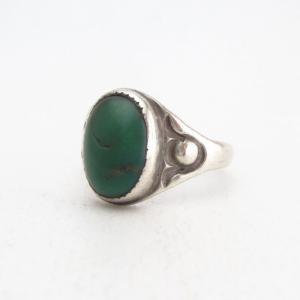 Antique Navajo Stamped Siver Ring w/Green Turquoise  c.1915~