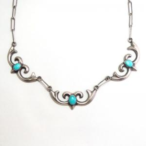 【Ambrose Lincoln】 Navajo Casted Arabesque Necklace  c.1960