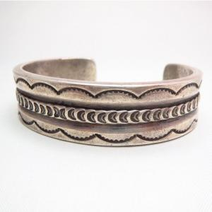 Vintage Stamp & Filed Heavy IngotSilver Cuff Bracelet c.1940