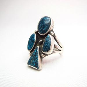 Antique Club Shaped Ring w/Top Grade #8 Turquoise  c.1940