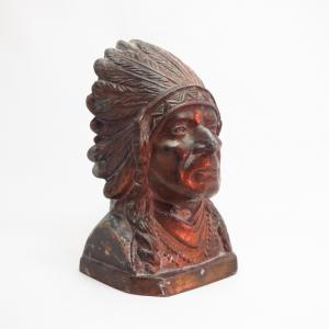 Antique Cast Bronze 【Indian Head】 Coin Bank  c.1920~