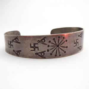 Antique Early Navajo 卍 Stamped Silver Cuff Bracelet  c.1900~