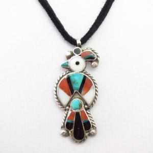Vtg Zuni Multi-Stone Inlay Thunderbird Fob Necklace  c.1940~