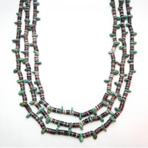 Vintage Turquoise & BrownShell Bead 3 Strand Heishi Necklace