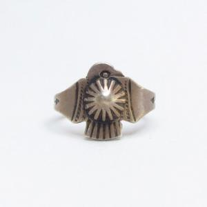 Antique Shell Repoused Thunderbird Shape Tourist Ring c.1930