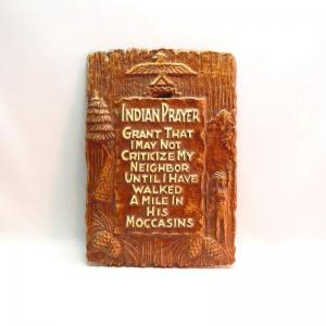 Vintage Indian Prayer Wood Composite Proverb Plaque  c.1940~
